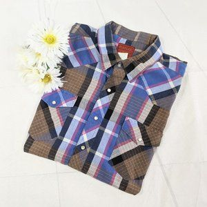 Vintage Rustler X-Long Blue Plaid Snap Shirt SZ 2X